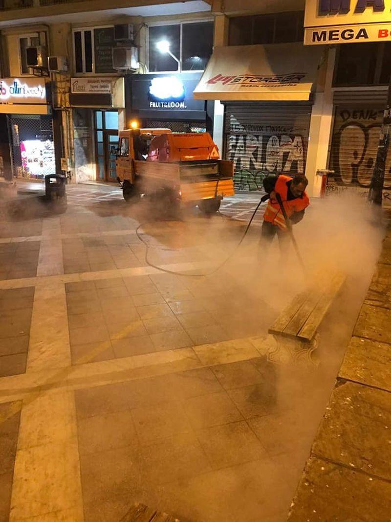 Θεσσαλονίκη: Επιχείρηση καθαρισμού σε Αριστοτέλους και Δ. Γούναρη