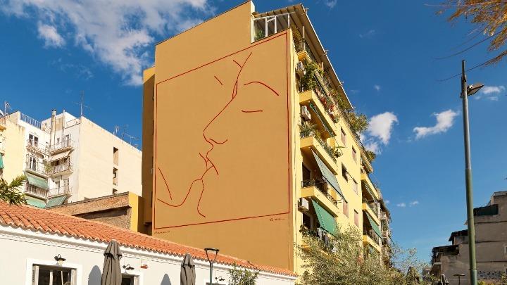Εγκαίνια της πρωτοβουλίας «OnAthens» του Ιδρύματος Ωνάση με την τοιχογραφία «Το φιλί» του Ηλ. Παπαηλιάκη